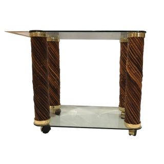 Vintage 20th Century Modern Brass and Rattan Bar Cart For Sale