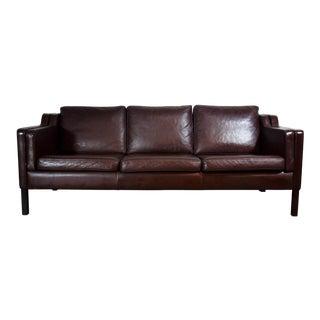Danish Mogensen Style Brown Three-Seat Sofa