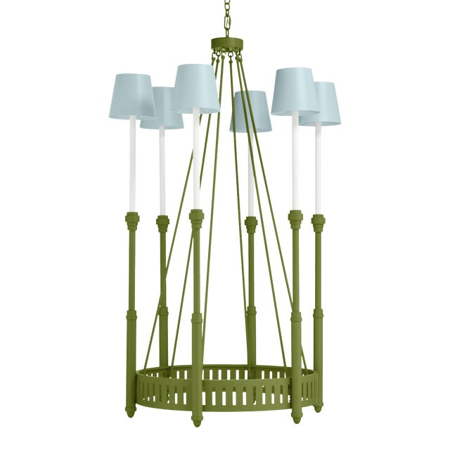 Camilla Chandelier, Timson Green with Palladian Blue Shades For Sale
