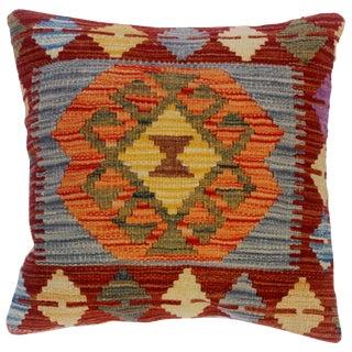 "Charline Rust/Gray Hand-Woven Kilim Throw Pillow(18""x18"") For Sale"