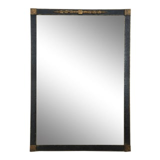 Transitional Black & Gold Wall Mirror For Sale