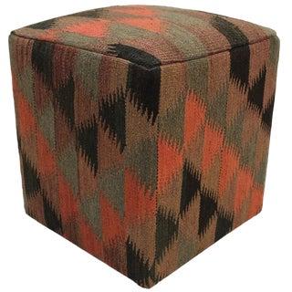 Boho Chic Ellison Orange/Brown Handmade Kilim Upholstered Ottoman For Sale