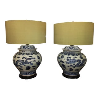 Pair of Chinoiserie Ginger Jar Lamps