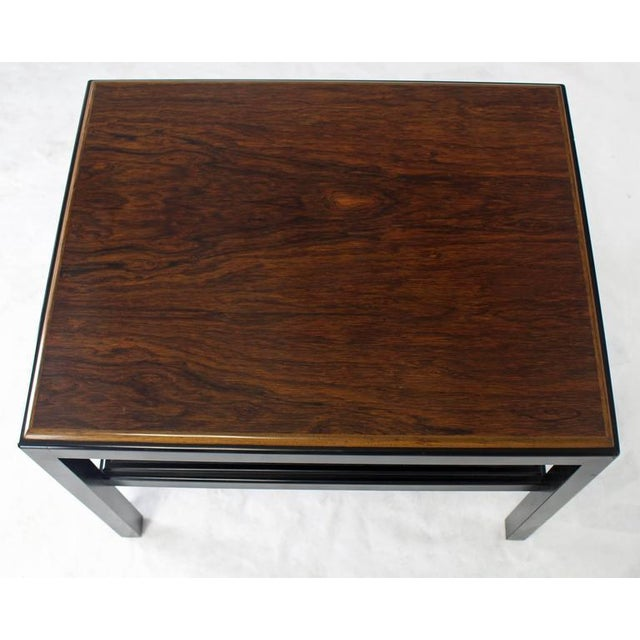 Mid-Century Modern Rosewood Top Black Lacquer Base with Cane Shelf Side Coffee Table For Sale - Image 3 of 3