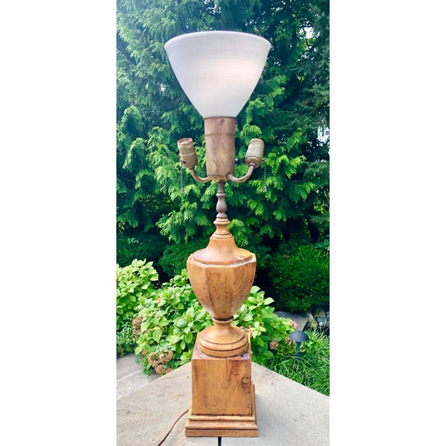 Antique Hand Carved Walnut Urn Table Lamp For Sale - Image 9 of 9