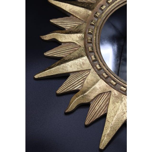 Resin Vintage Golden Gilt Convex Sunburst Mirror For Sale - Image 7 of 11
