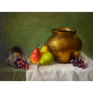 Pears and Metal Pot Still Life Original Oil Painting For Sale