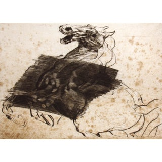 """Claude Weisbuch """"Cheval Dresse"""" 1978 Hand Signed Etching For Sale"""