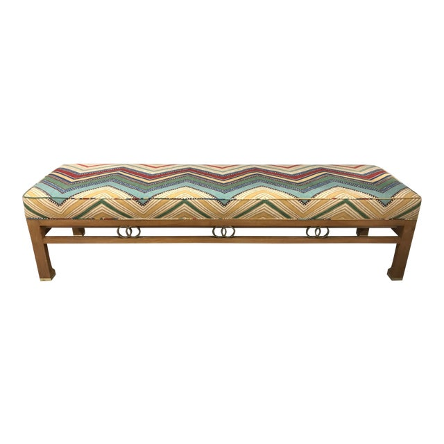 1980s James Mont Style Upholstered Long Bench For Sale