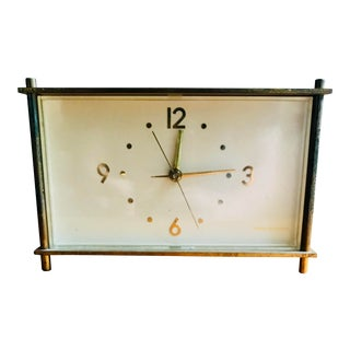 Mid Century Brass Alarm Clock Telechron For Sale