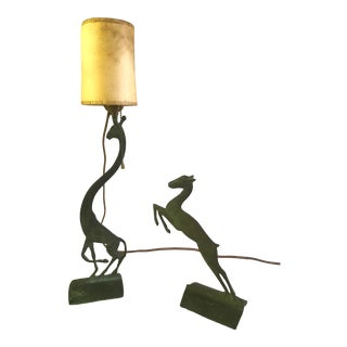 Cast Bronze Giraffe and Gazelle Lamps - Set of 2 For Sale
