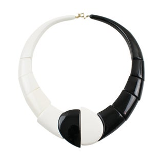 Auguste Bonaz Style B & W Resin Choker Necklace Art Deco Revival For Sale