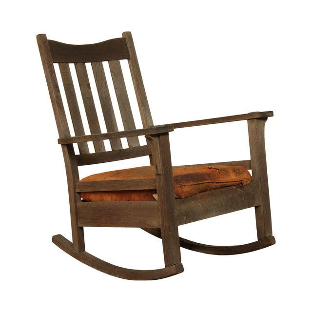 Antique Mission Oak Wcathered Rocker For Sale - Image 13 of 13