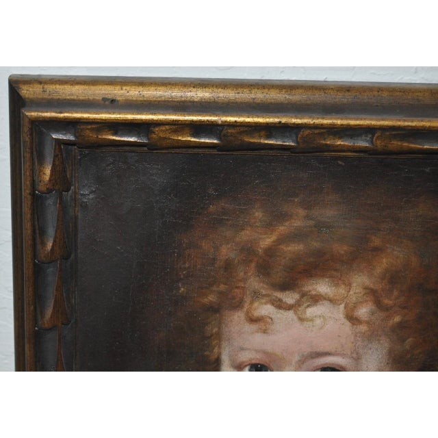"""Late 19th Century Charming 19th Century """"Girl With Dog"""" Oil Painting For Sale - Image 5 of 9"""