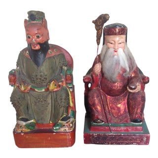 Antique Chinese Polychrome Painted Wood Bookend Statues- Set of 2