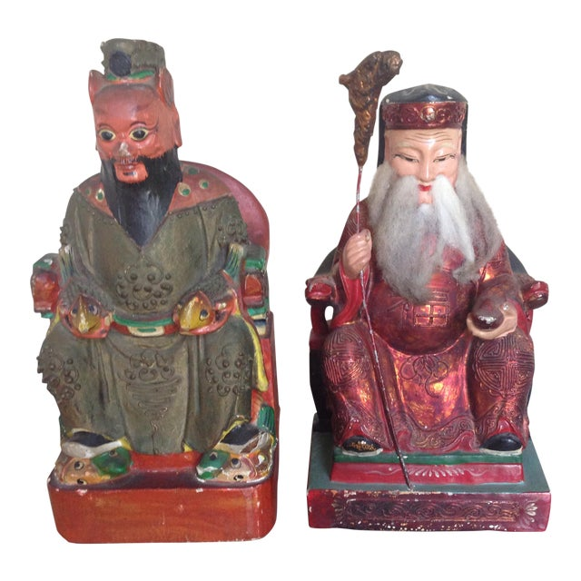 Antique Chinese Polychrome Painted Wood Bookend Statues- Set of 2 For Sale
