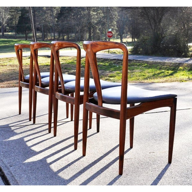 Very Rare Beautiful Set of 4 Johannes Andersen Brazilian Rosewood Chairs with Leather Seats. Newly upholstered in Italian...