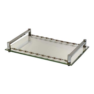 French Serving Tray of Chrome and Mirrored Glass From the Art Deco Period For Sale