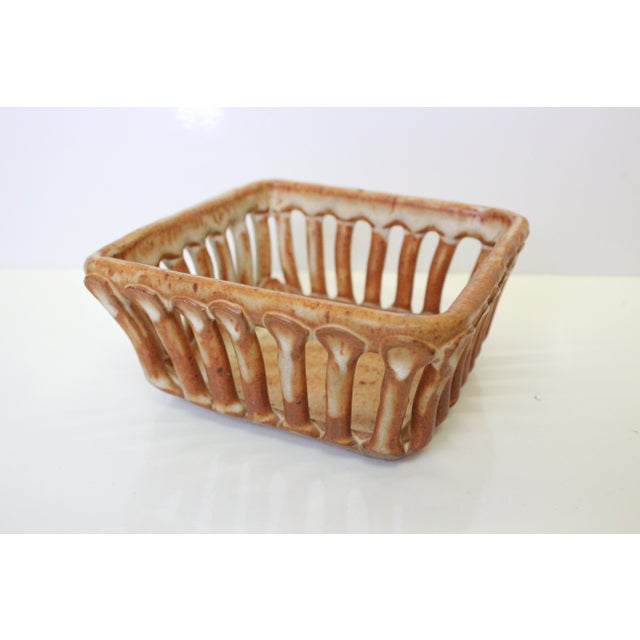 Early 21st Century Rustic Cohen Earthenware Pottery Basket For Sale - Image 5 of 5