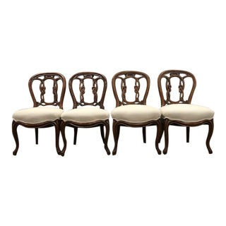 Victorian Walnut Side Chairs With Nautical Carved Motifs - Set of 4 For Sale