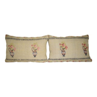 Set of Two Turkish Lumbar Pillow Cover, Ethnic Vase Design Cushion Cover 16'' X 24'' (40 X 60 Cm) For Sale