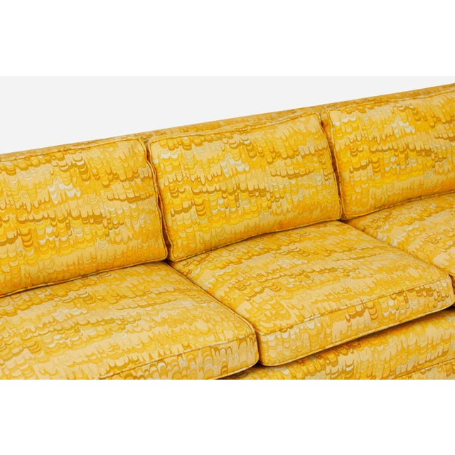 Jack Lenor Larsen Jack Lenor Larsen 5 Seat Sofa on Brass Legs For Sale - Image 4 of 7