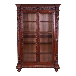 19th Century French Renaissance Ornate Carved Walnut Bookcase For Sale