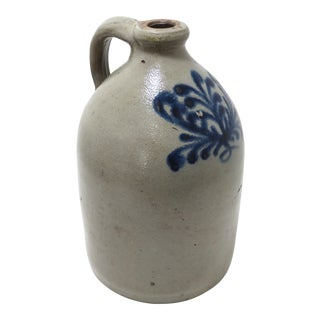 Antique American Blue Decorated Stoneware Jug For Sale