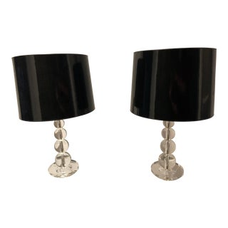 Pottery Barn Stacked Crystal Table Lamps - a Pair For Sale