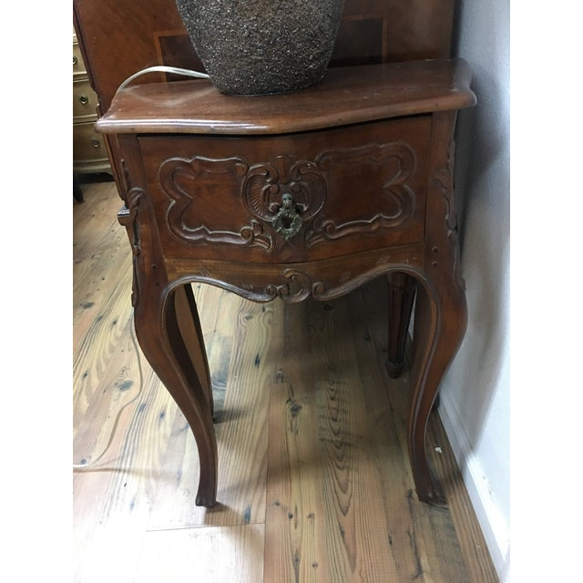Louis XV Petite Louis XV Style Carved Cherrywood Bedside Tables - a Pair For Sale - Image 3 of 9