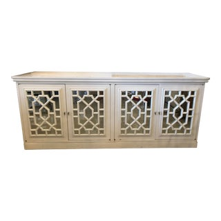 Vintage Chinese Chippendale Fretwork Fret Mirrored Cabinet Credenza Sideboard For Sale