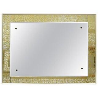 Vintage Josef Frank Style Modernist Verre Eglomise Gold Frame Mirror For Sale