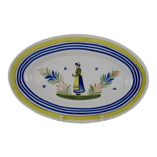 HenRiot Quimper Faience Oval Platter, Femme de la Campagne For Sale