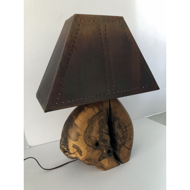 1970s Organic Burl Wood Lamp With Copper Shade For Sale - Image 10 of 11