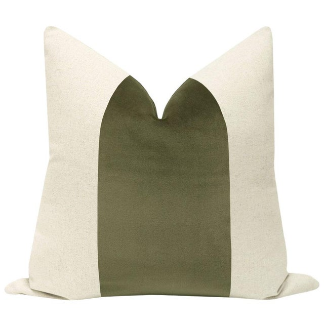 "Pair of beautiful 22"" natural linen pillows with a bayleaf green velvet center and solid natural linen reverse...."