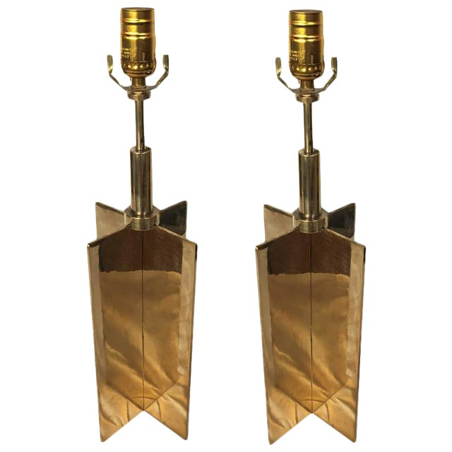 Mid-Century Style Brass Croisillon Table Lamps - a Pair For Sale