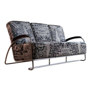 Kem Weber Three-Seat Chrome Settee Art Deco Design, USA, 1930s For Sale