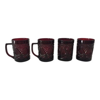 Vintage Luminarc Ruby Red Mugs - Set of 4 For Sale