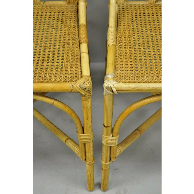 Yellow Chinese Chippendale Boho Chic Bamboo Rattan Faux Bamboo Dining Set - 5 Pieces For Sale - Image 8 of 13