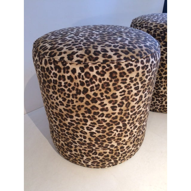 Textile Todd Hase Namesake Leopard Print Ruth Drum Ottomans- A Pair For Sale - Image 7 of 13