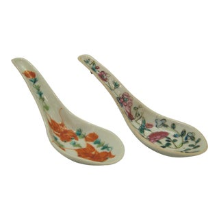 1930s Rose Canton China Porcelain Soup Spoons - a Pair For Sale