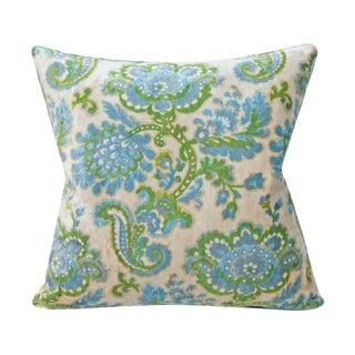 Contemporary Velvet Floral Pillow Cover - 20x20 For Sale