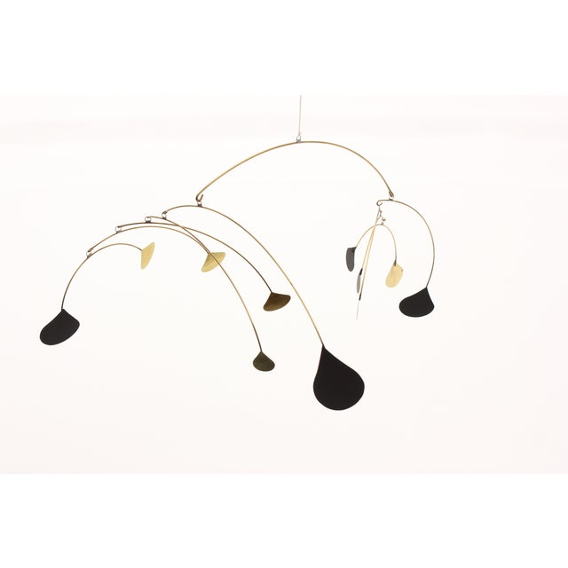 Vintage Brass & Black Metal Abstract Mobile - Image 4 of 6