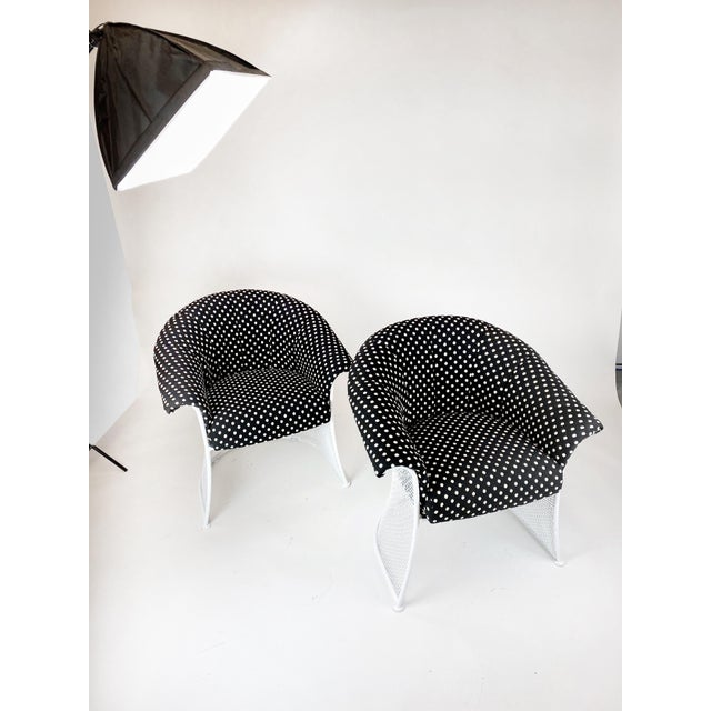 Rare 1950s Russell Woodard Black and White Polka Dot Patio Wrought Iron Set For Sale In West Palm - Image 6 of 13