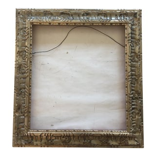 Vintage Carved Wood Silver Frame For Sale