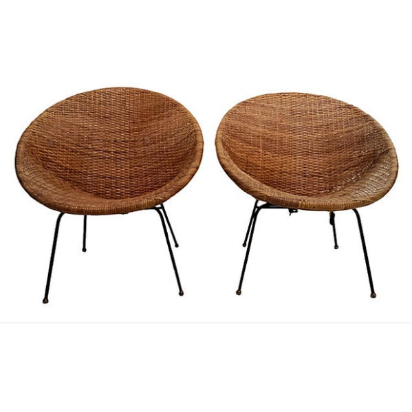 Mid-Century Modern Mid-Century Rattan Wicker Hoop Chairs - Pair For Sale - Image 3 of 9
