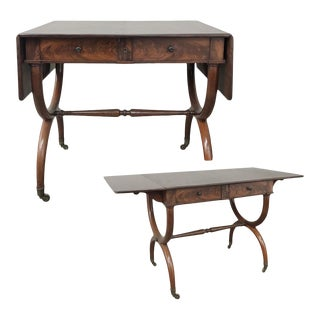 19th Century English Mahogany Drop Leaf Desk ~ Table For Sale