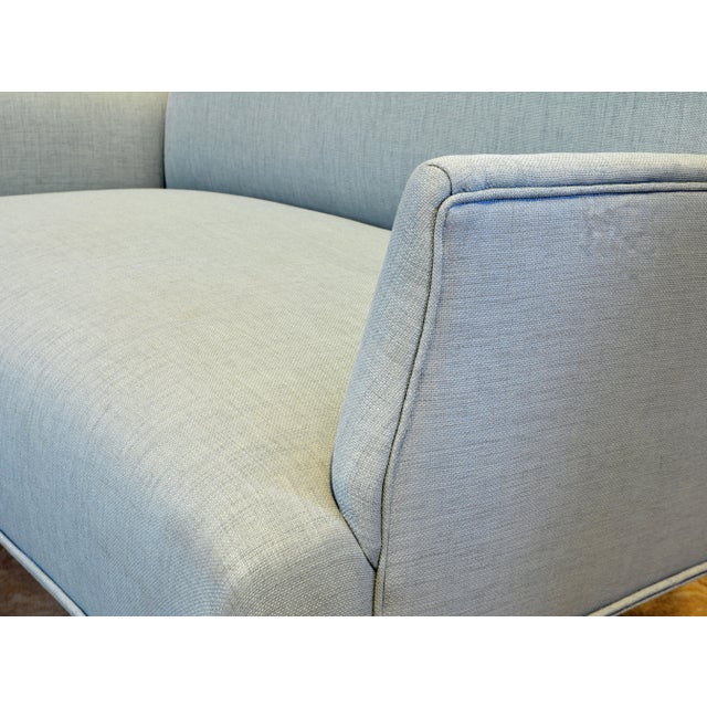 Ico Parisi Vintage Ico Parisi Style Seafoam Color Loveseat Settee With Great Curved Lines For Sale - Image 4 of 11