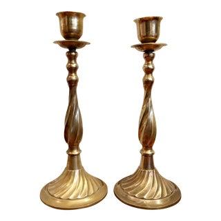 Solid Brass Twist Candlesticks - A Pair