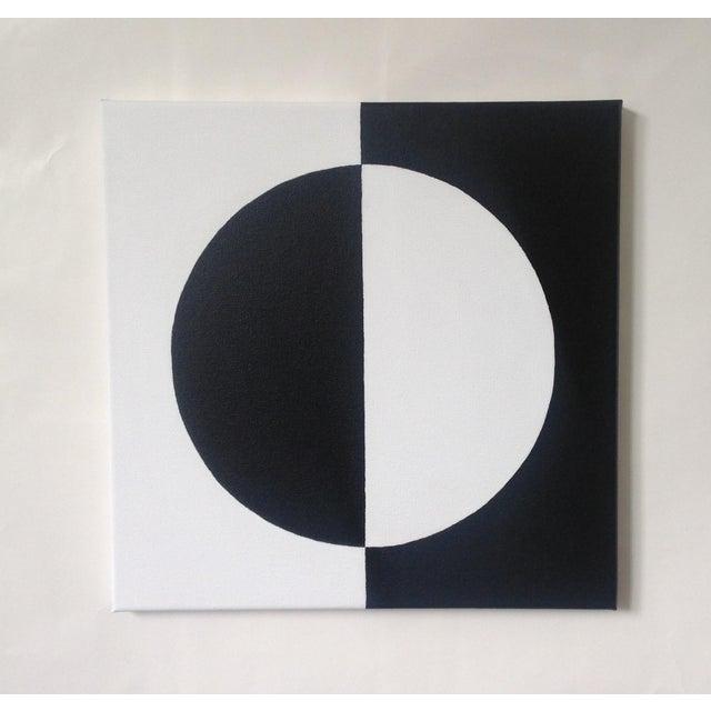 Modern Mirror Black & White Painting - Image 2 of 4